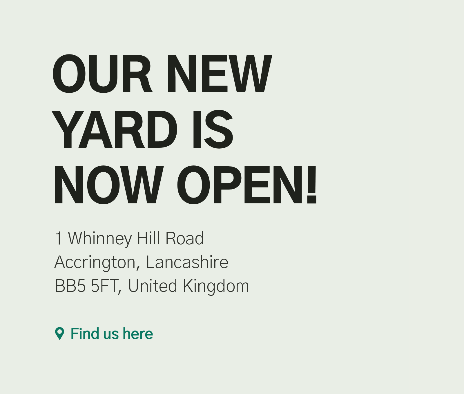 Our new yard is now open